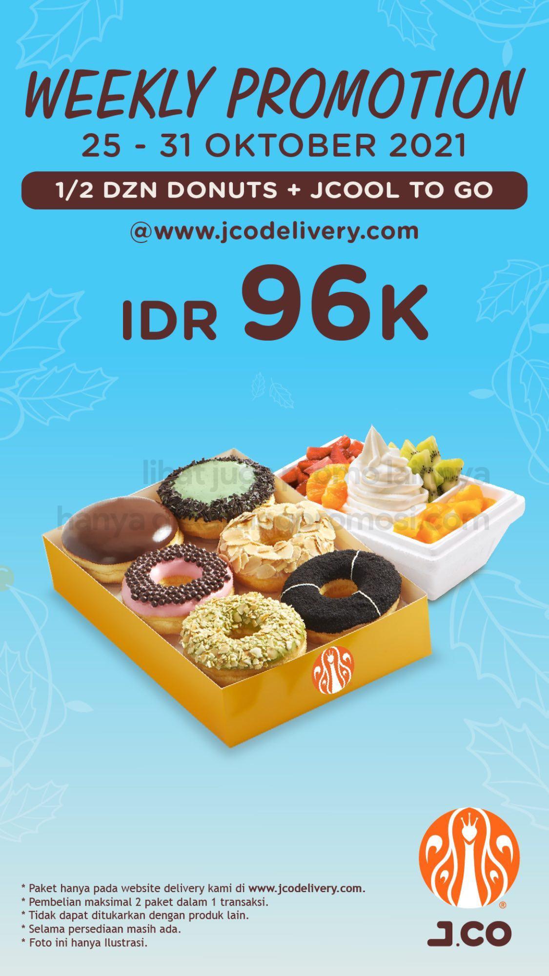 Promo JCO Minggu Ini | Weekly Promotion - 1/2 lusin JCO DONUTS + JCOOL TO GO hanya Rp 96.000*