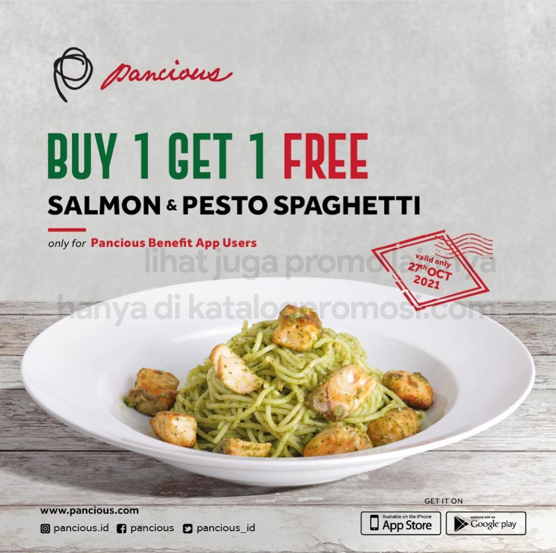 PANCIOUS Promo BELI 1 GRATIS 1 untuk Salmon & Pesto Spaghetti