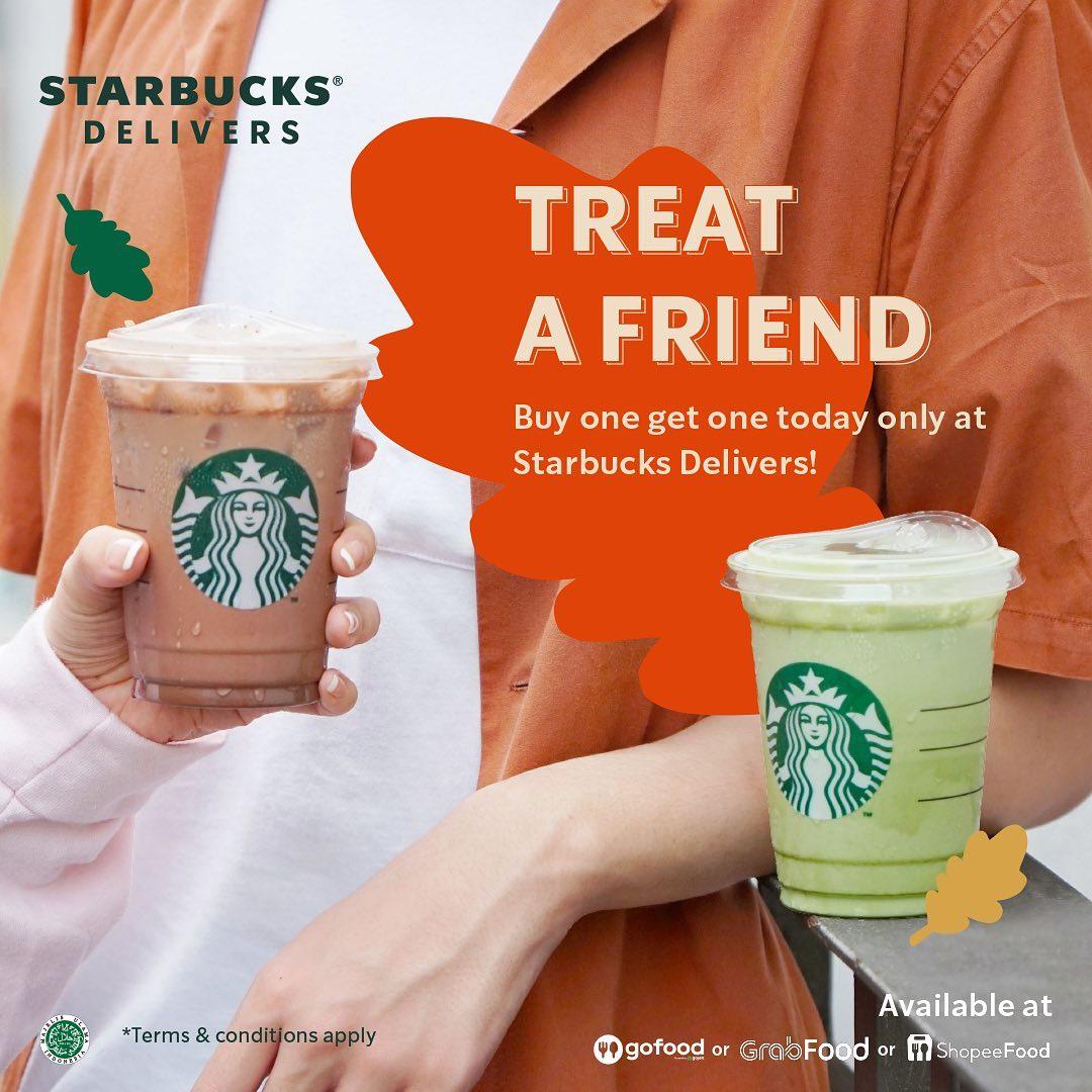 Promo STARBUCKS TREAT A FRIEND - BELI 1 GRATIS 1! Paket 2 minuman Starbucks mulai Rp. 53ribuan aja